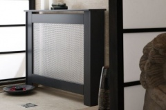 New England radiator cover finished in satin black with a silver oriental grille on the single opening