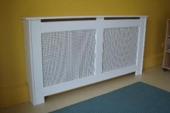 New England modern design finished in satin white with a square design white board grille
