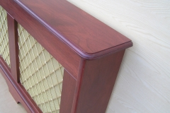 Studley design radiator cover showing the profiled top shelf rounded corner