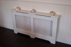 Studley design radiator cabinet finished in satin white