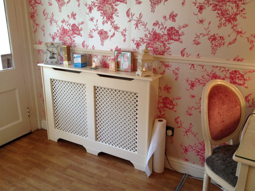 Radiator decorative cabinet installed in a beauty salon in halifax west yorkshire