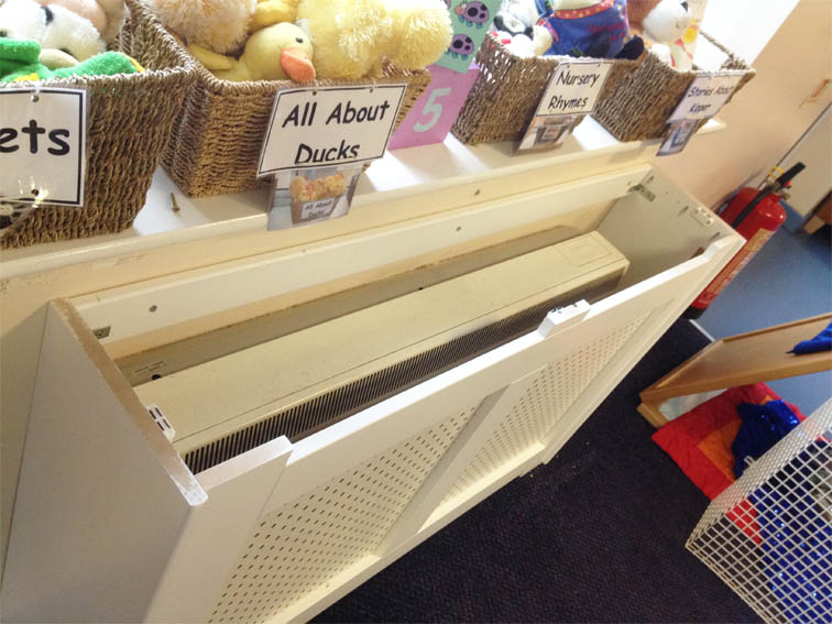 storage heater cover with removable top shelf