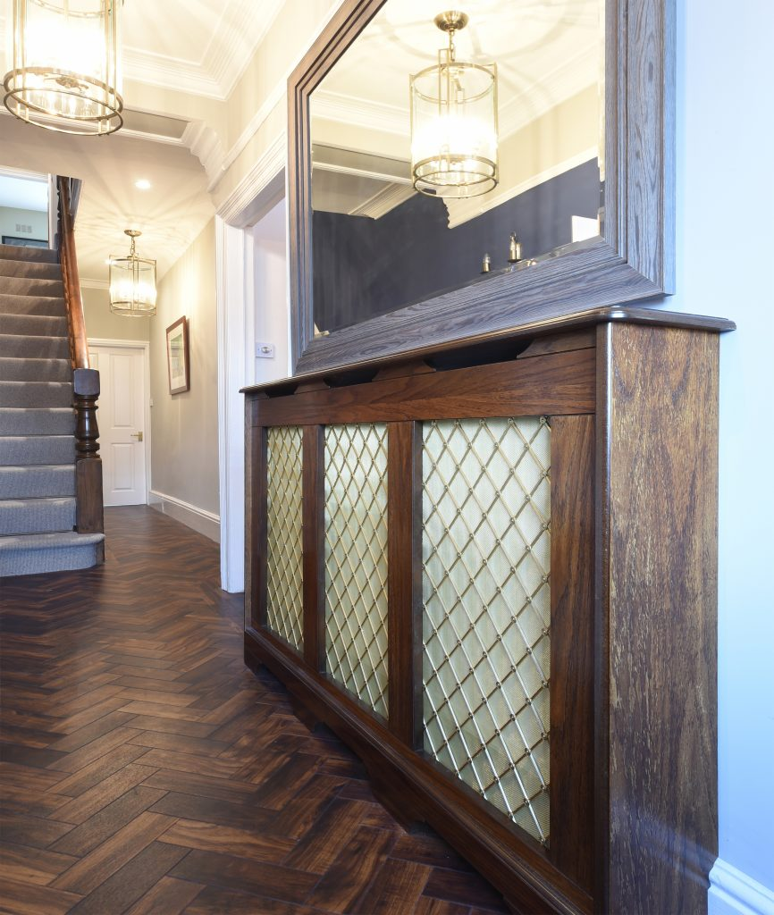 radiator cabinet finished in medium oak supplied for hannah barnes interiors of manchester